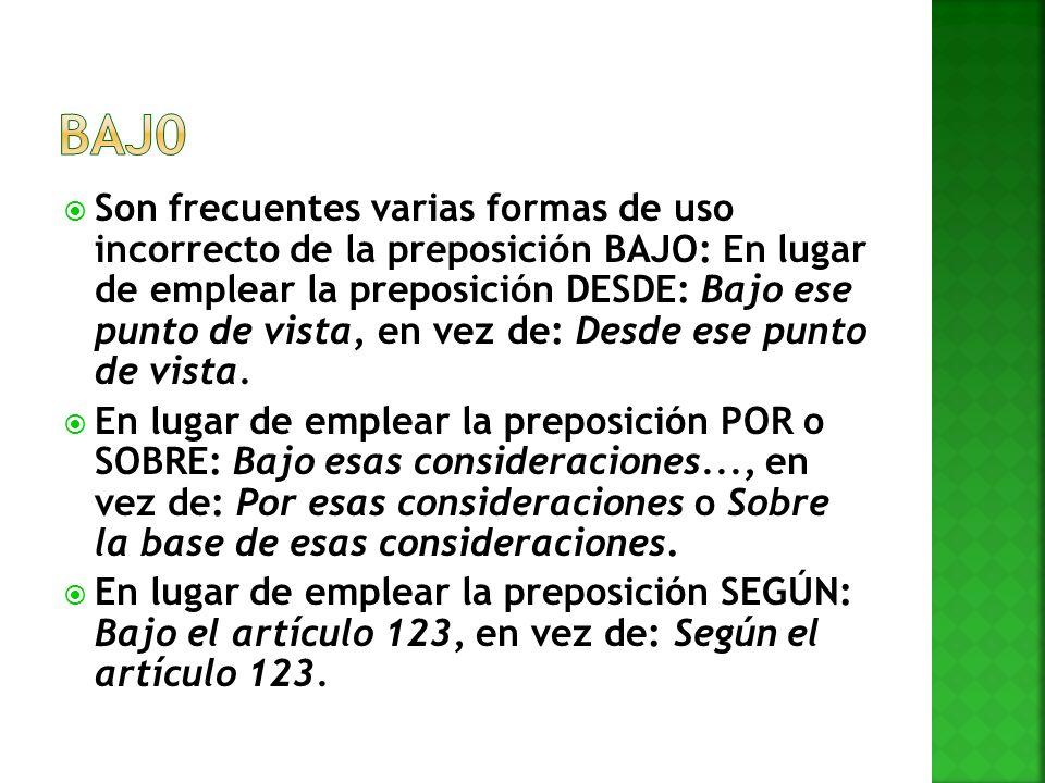 Son frecuentes varias formas de uso incorrecto de la preposición BAJO: En lugar de emplear la preposición DESDE: Bajo ese punto de vista, en vez de: D