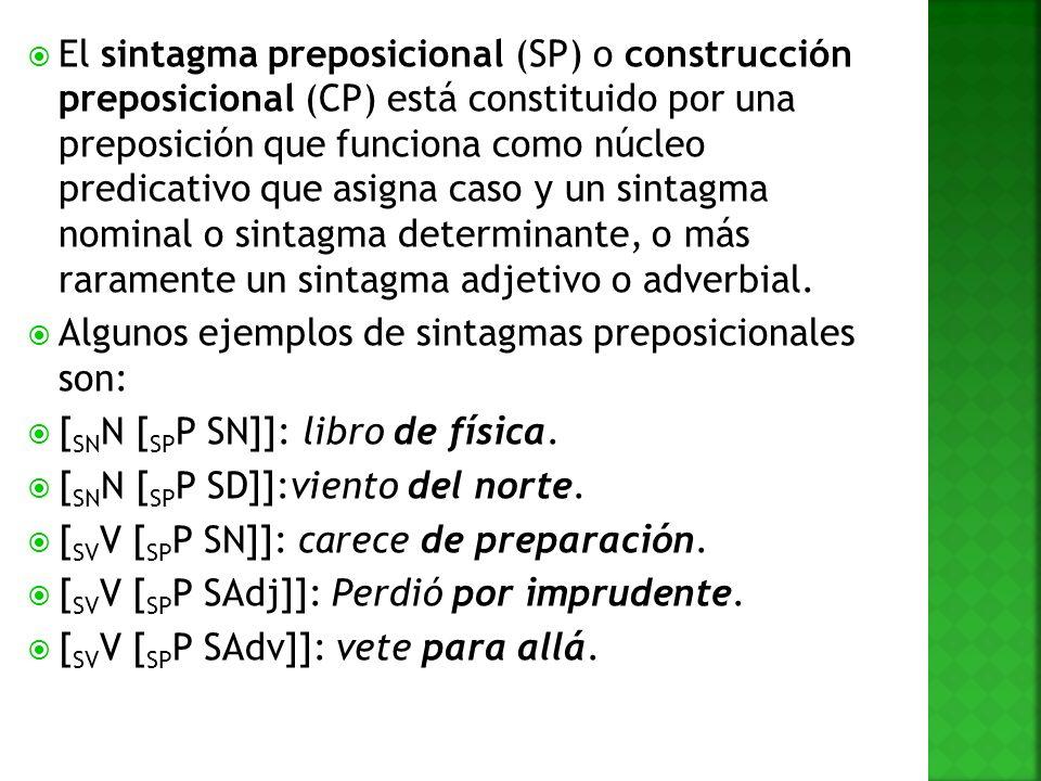 El sintagma preposicional (SP) o construcción preposicional (CP) está constituido por una preposición que funciona como núcleo predicativo que asigna