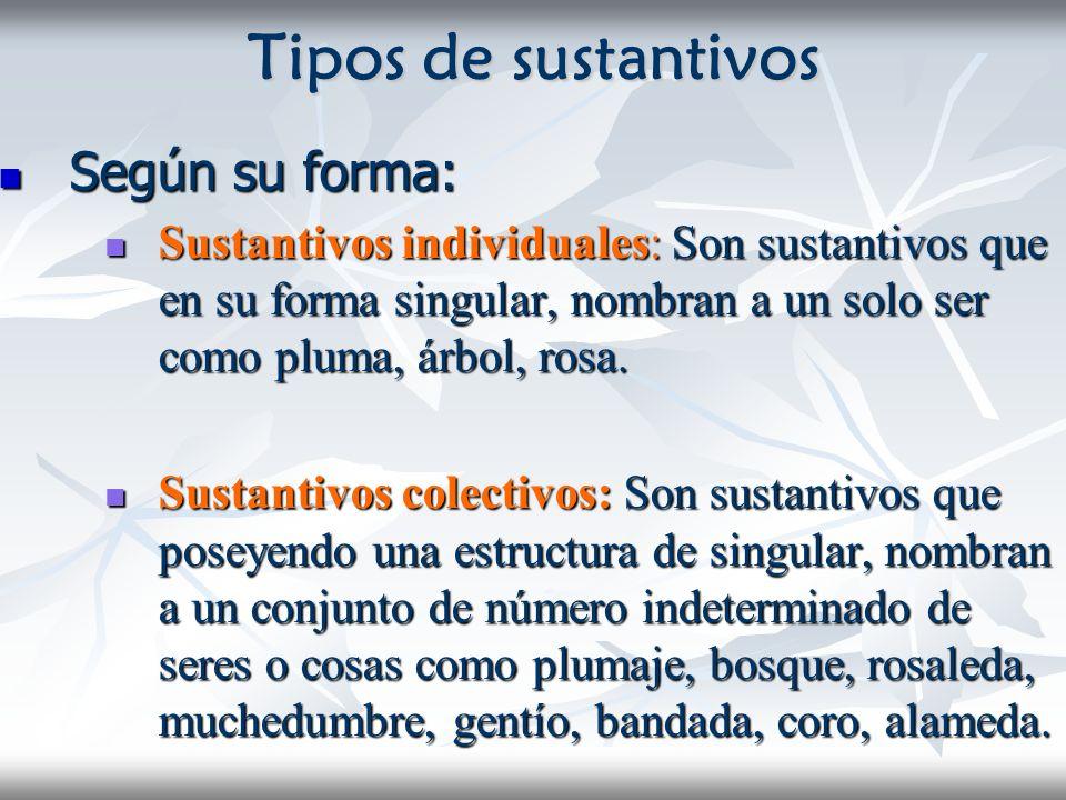 Tipos de sustantivos Según su forma: Según su forma: Sustantivos individuales: Son sustantivos que en su forma singular, nombran a un solo ser como pl