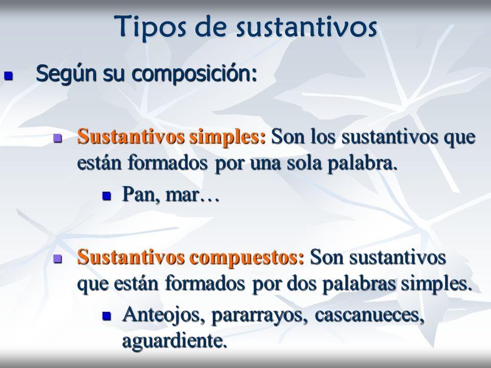 Tipos de sustantivos Según su composición: Según su composición: Sustantivos simples: Son los sustantivos que están formados por una sola palabra. Sus