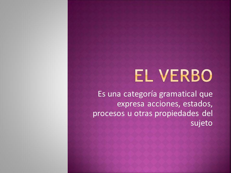 Es una categoría gramatical que expresa acciones, estados, procesos u otras propiedades del sujeto