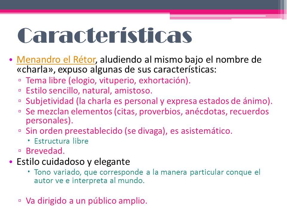 Rasgos lingüísticos Función representativa (exposición de un tema).
