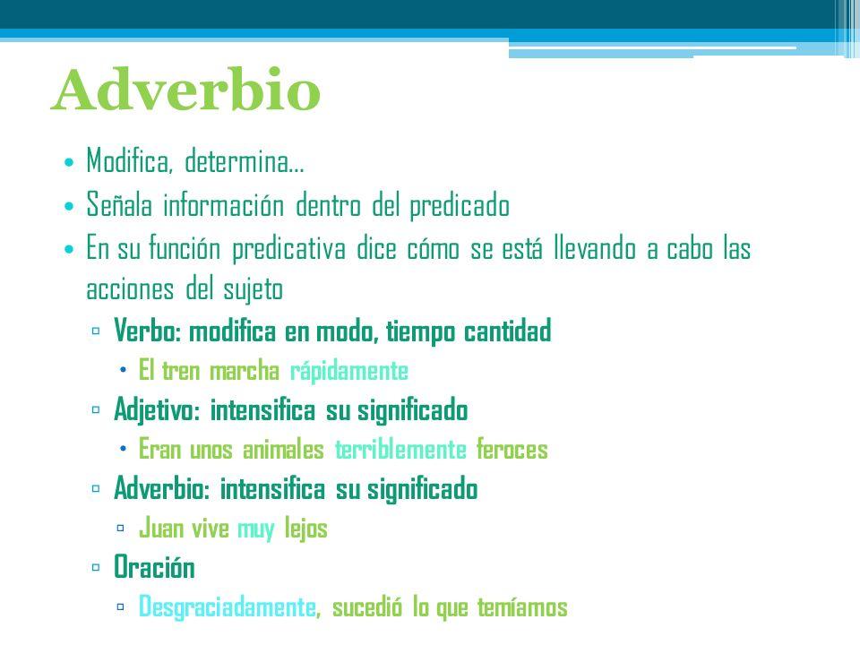 El adverbio Es una categoría gramatical que modifica al verbo, al adjetivo y a otro adverbio