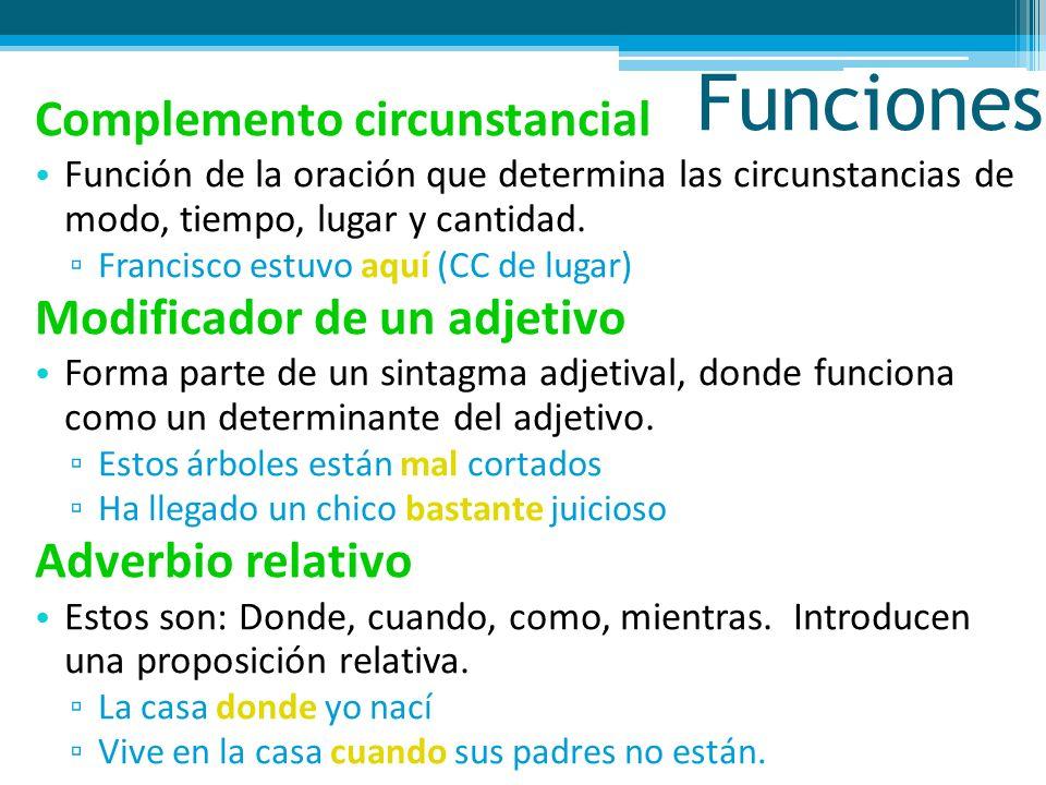 Funciones Complemento circunstancial Función de la oración que determina las circunstancias de modo, tiempo, lugar y cantidad.