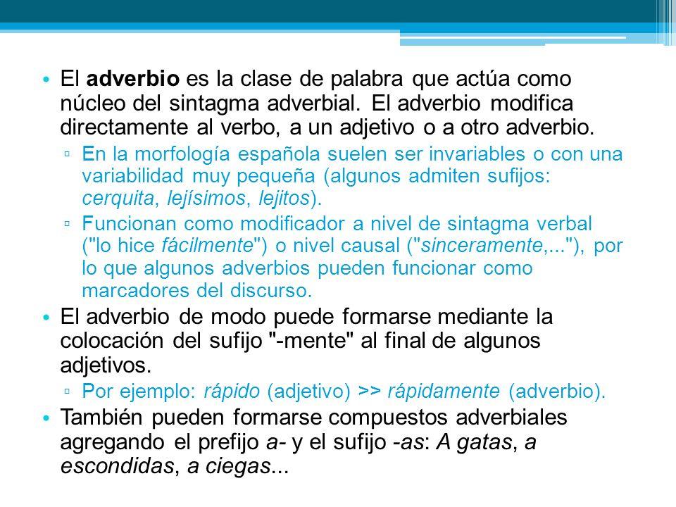 El adverbio es la clase de palabra que actúa como núcleo del sintagma adverbial.