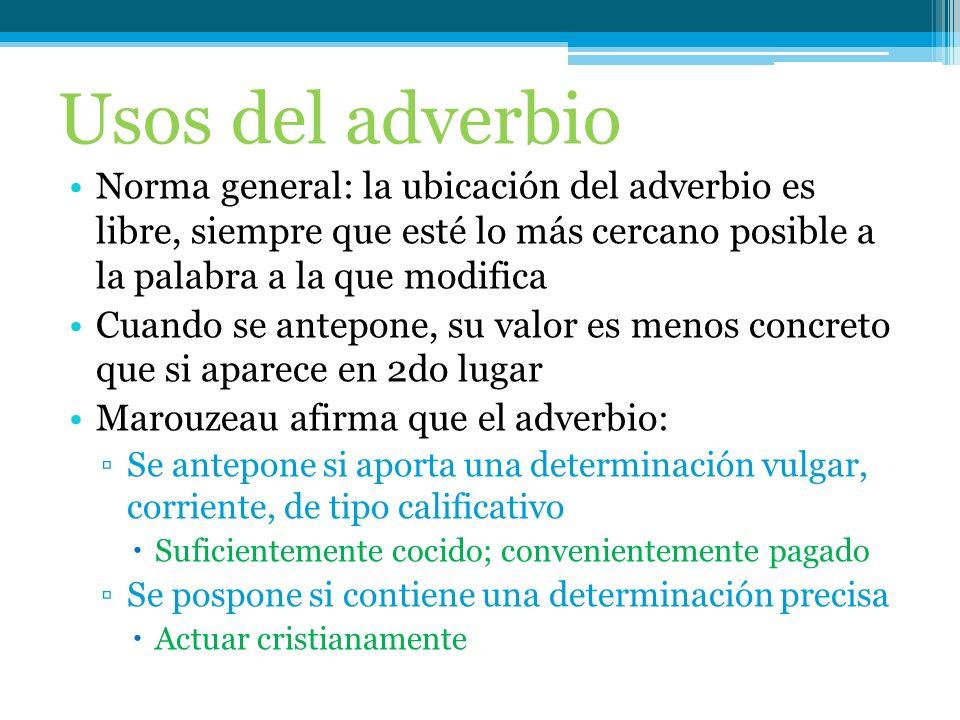 El adverbio es la clase de palabra que actúa como núcleo del sintagma adverbial. El adverbio modifica directamente al verbo, a un adjetivo o a otro ad