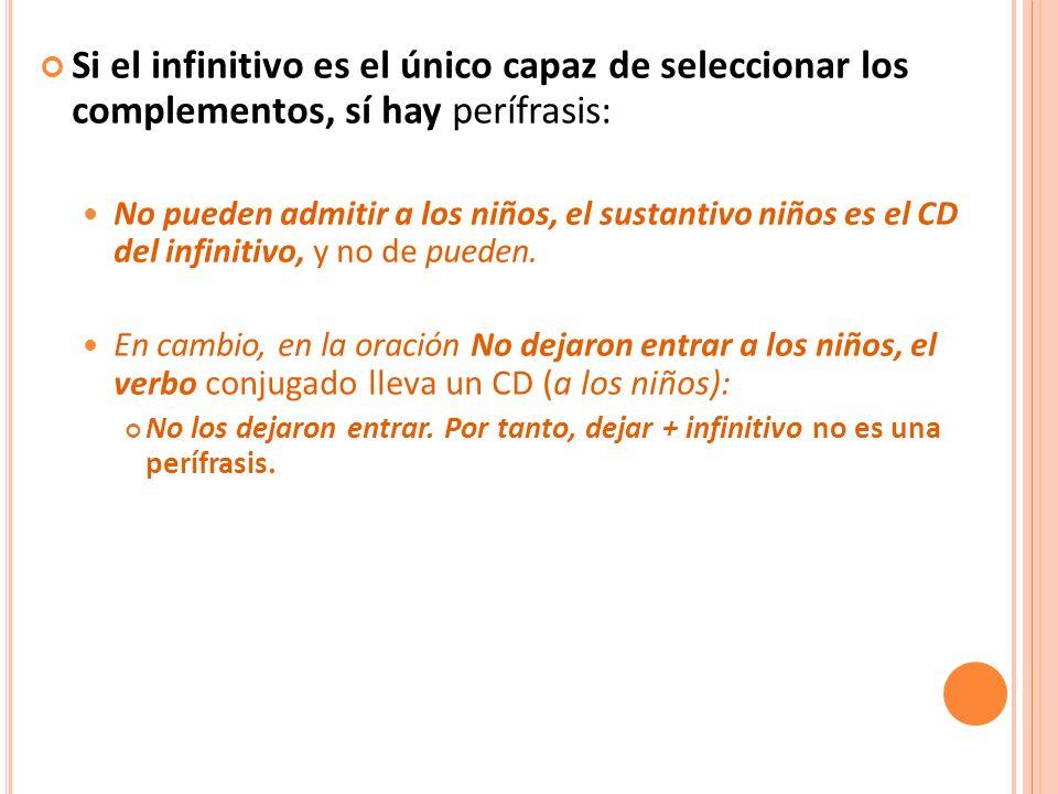 Si el infinitivo es el único capaz de seleccionar los complementos, sí hay perífrasis: No pueden admitir a los niños, el sustantivo niños es el CD del