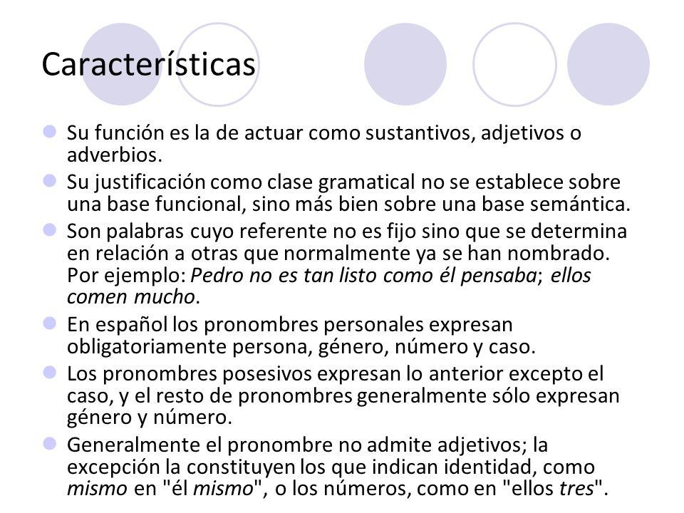 Clasificación Personales tónicos átonos reflexivos y recíprocos posesivos Demostrativos Interrogativos o exclamativos (enfáticos) Indefinidos Numerales Relativos