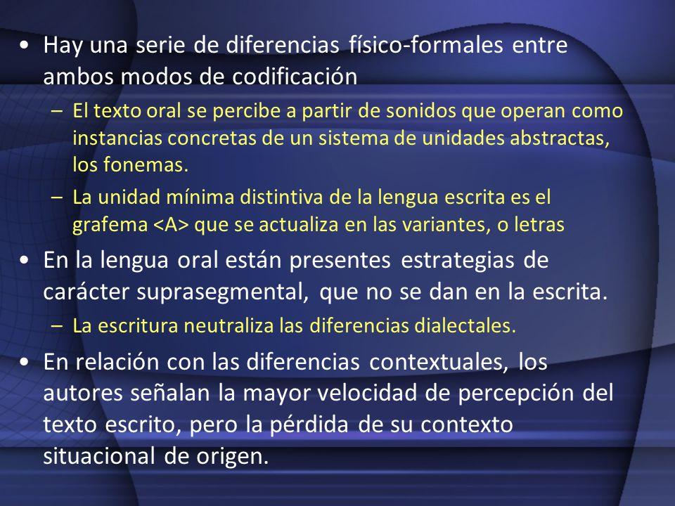 Hay una serie de diferencias físico-formales entre ambos modos de codificación –El texto oral se percibe a partir de sonidos que operan como instancia