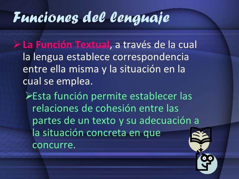 Funciones del lenguaje La Función Textual, a través de la cual la lengua establece correspondencia entre ella misma y la situación en la cual se emple