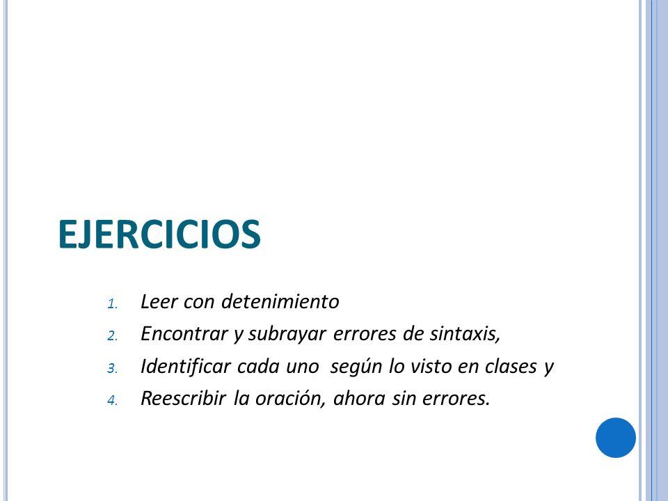 EJERCICIOS 1. Leer con detenimiento 2. Encontrar y subrayar errores de sintaxis, 3. Identificar cada uno según lo visto en clases y 4. Reescribir la o