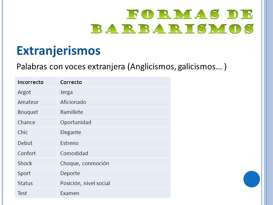Extranjerismos Palabras con voces extranjera (Anglicismos, galicismos… ) IncorrectoCorrecto ArgotJerga AmateurAficionado BouquetRamillete ChanceOportu