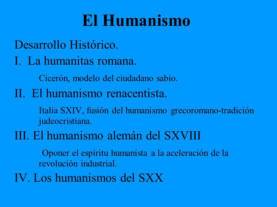 El Humanismo Desarrollo Histórico. I. La humanitas romana. Cicerón, modelo del ciudadano sabio. II. El humanismo renacentista. Italia SXIV, fusión del