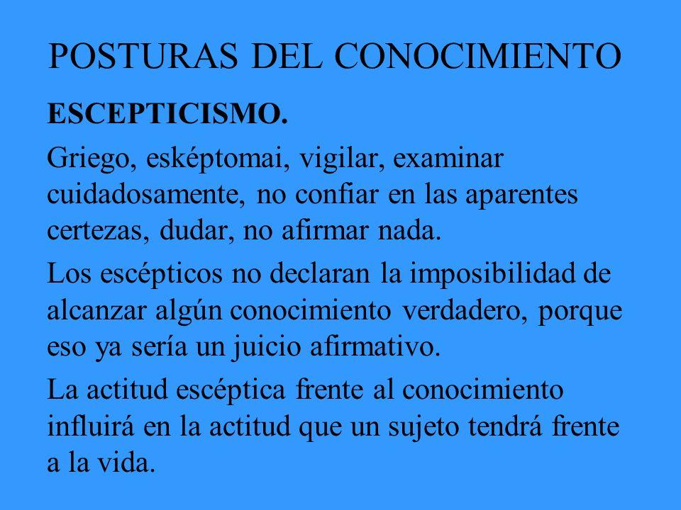 POSTURAS DEL CONOCIMIENTO ESCEPTICISMO. Griego, esképtomai, vigilar, examinar cuidadosamente, no confiar en las aparentes certezas, dudar, no afirmar