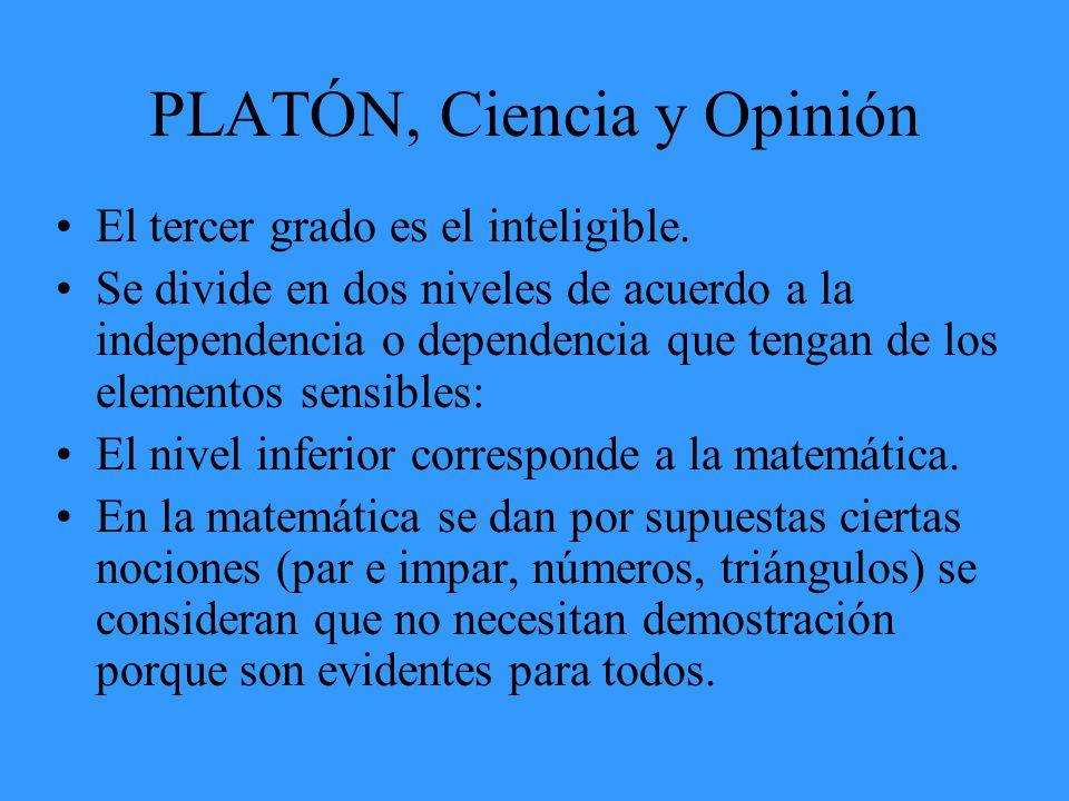 PLATÓN, Ciencia y Opinión El tercer grado es el inteligible. Se divide en dos niveles de acuerdo a la independencia o dependencia que tengan de los el