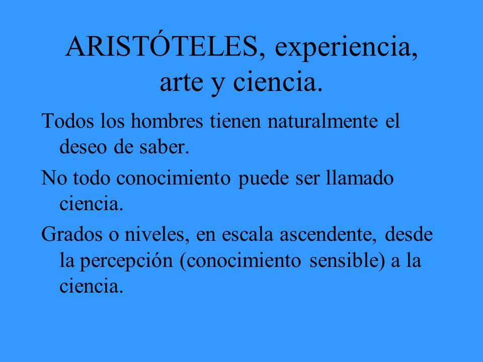 ARISTÓTELES, experiencia, arte y ciencia. Todos los hombres tienen naturalmente el deseo de saber. No todo conocimiento puede ser llamado ciencia. Gra