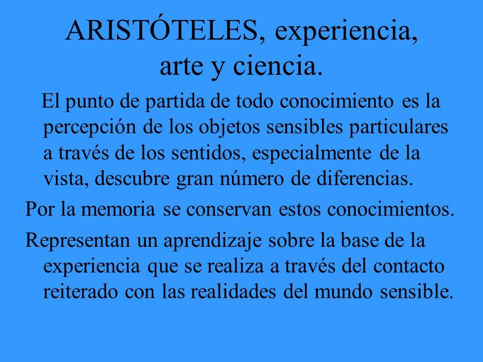 ARISTÓTELES, experiencia, arte y ciencia. El punto de partida de todo conocimiento es la percepción de los objetos sensibles particulares a través de