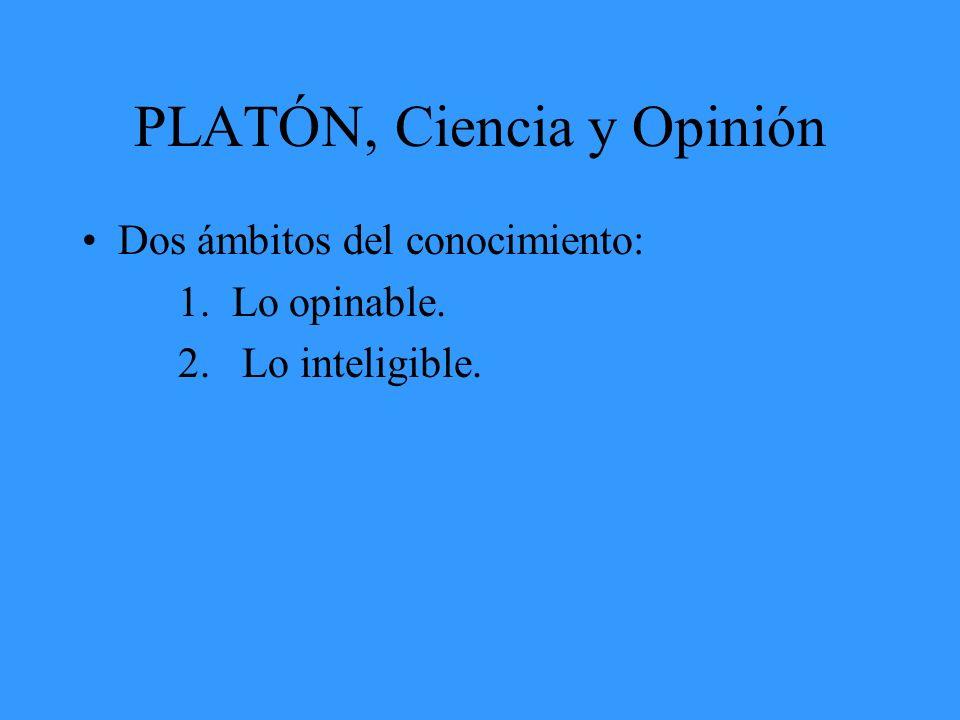 PLATÓN, Ciencia y Opinión Dos ámbitos del conocimiento: 1. Lo opinable. 2. Lo inteligible.