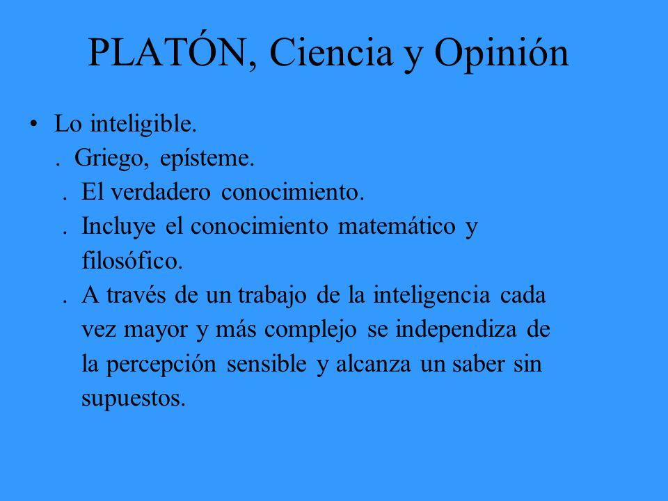 PLATÓN, Ciencia y Opinión Lo inteligible.. Griego, epísteme.. El verdadero conocimiento.. Incluye el conocimiento matemático y filosófico.. A través d