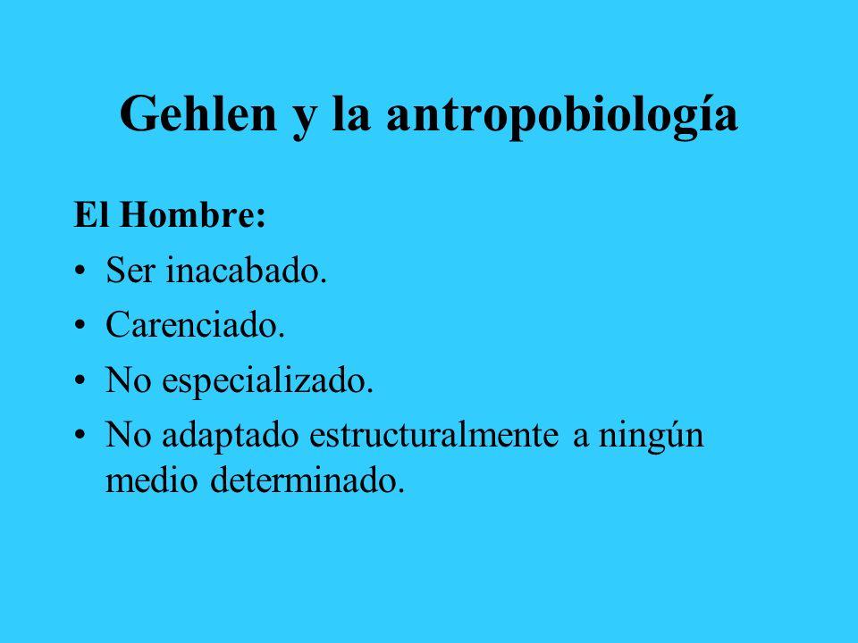 Gehlen y la antropobiología El Hombre: Ser inacabado. Carenciado. No especializado. No adaptado estructuralmente a ningún medio determinado.