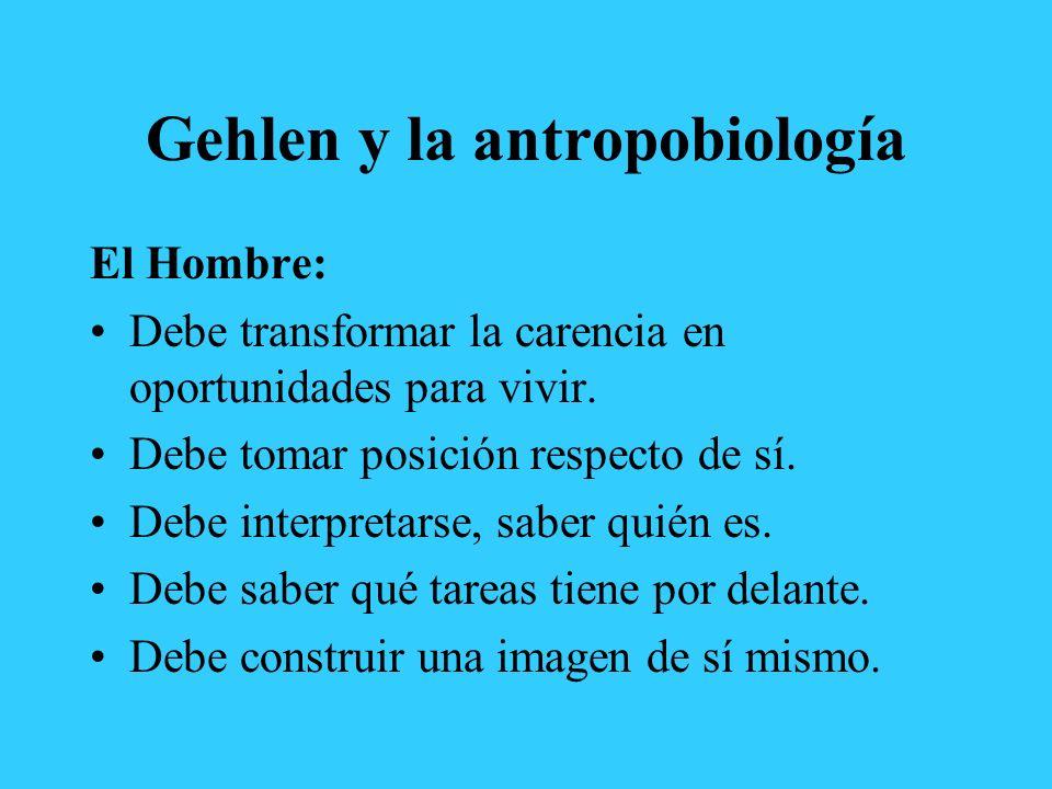 Gehlen y la antropobiología El Hombre: Debe transformar la carencia en oportunidades para vivir. Debe tomar posición respecto de sí. Debe interpretars
