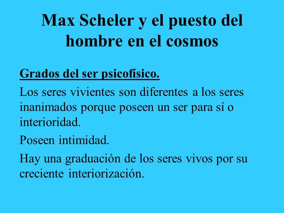 Max Scheler y el puesto del hombre en el cosmos Grados del ser psicofísico. Los seres vivientes son diferentes a los seres inanimados porque poseen un