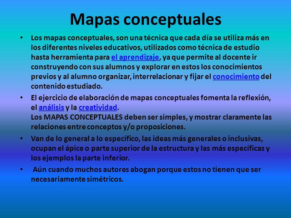 Mapas conceptuales Los mapas conceptuales, son una técnica que cada día se utiliza más en los diferentes niveles educativos, utilizados como técnica d