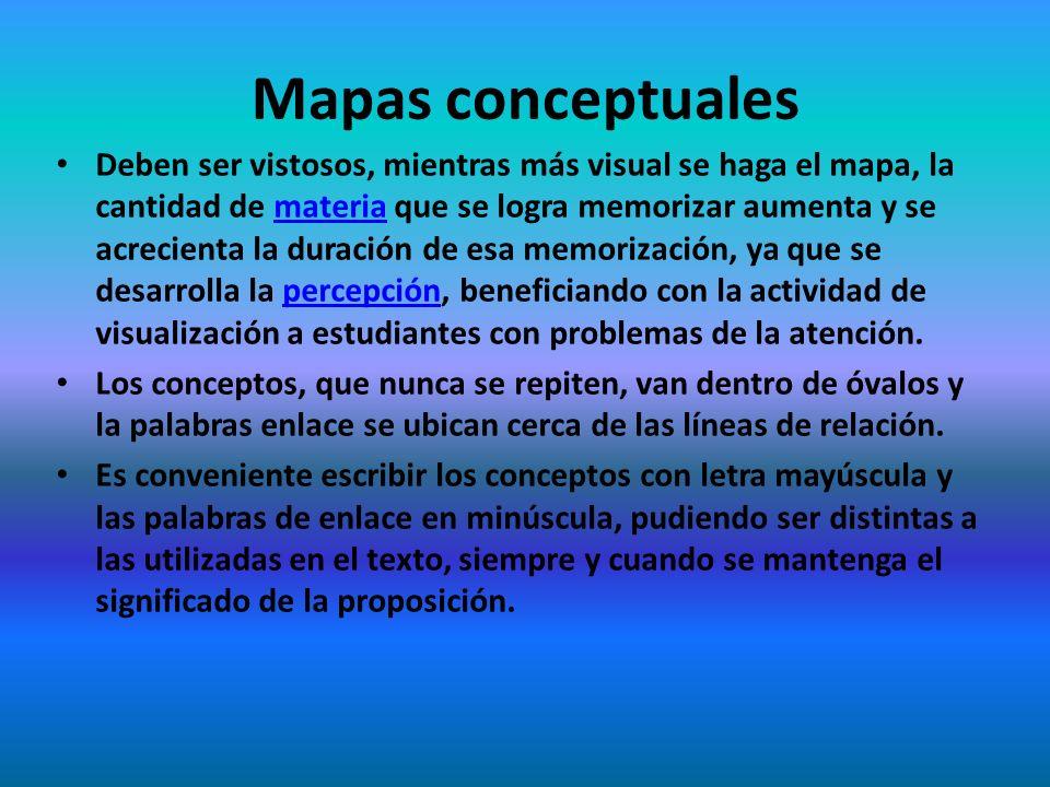 Mapas conceptuales Deben ser vistosos, mientras más visual se haga el mapa, la cantidad de materia que se logra memorizar aumenta y se acrecienta la d