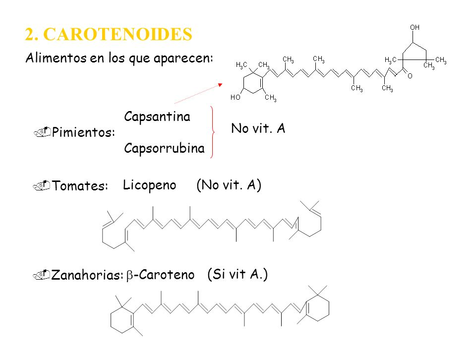 2. CAROTENOIDES Alimentos en los que aparecen:.Pimientos: Capsantina Capsorrubina No vit. A.Tomates: Licopeno(No vit. A).Zanahorias: -Caroteno(Si vit