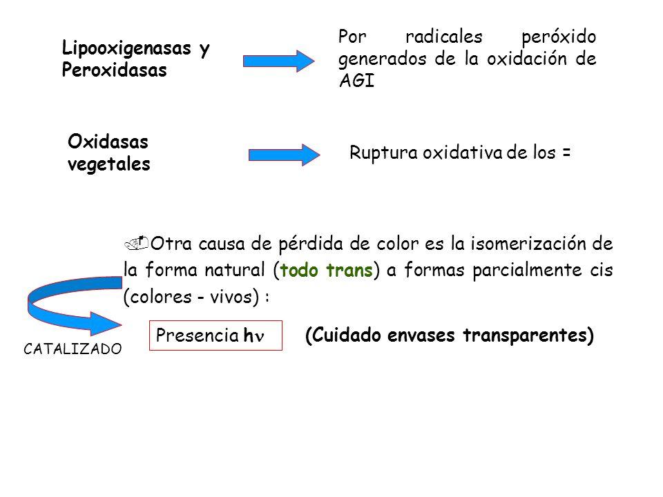 Lipooxigenasas y Peroxidasas Por radicales peróxido generados de la oxidación de AGI Oxidasas vegetales Ruptura oxidativa de los =.Otra causa de pérdi
