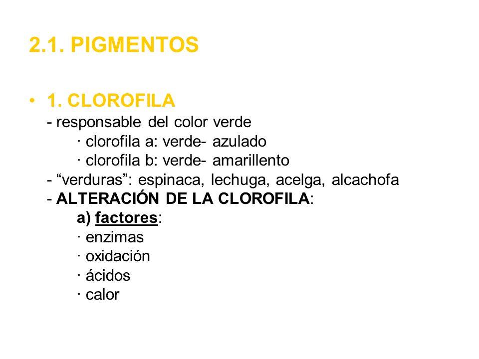 2.1. PIGMENTOS 1. CLOROFILA - responsable del color verde · clorofila a: verde- azulado · clorofila b: verde- amarillento - verduras: espinaca, lechug