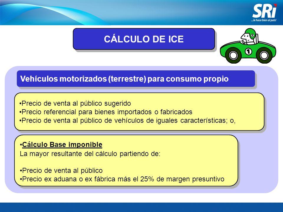 Vehículos motorizados (terrestre) para consumo propio Precio de venta al público sugerido Precio referencial para bienes importados o fabricados Preci
