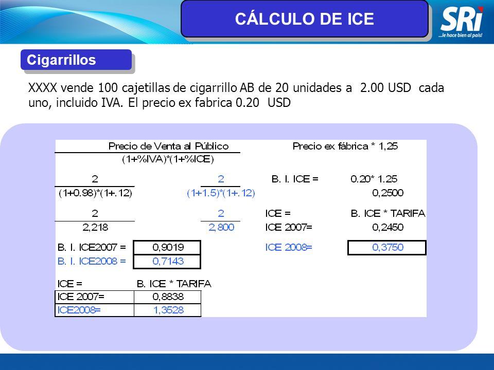 Cigarrillos XXXX vende 100 cajetillas de cigarrillo AB de 20 unidades a 2.00 USD cada uno, incluido IVA. El precio ex fabrica 0.20 USD CÁLCULO DE ICE