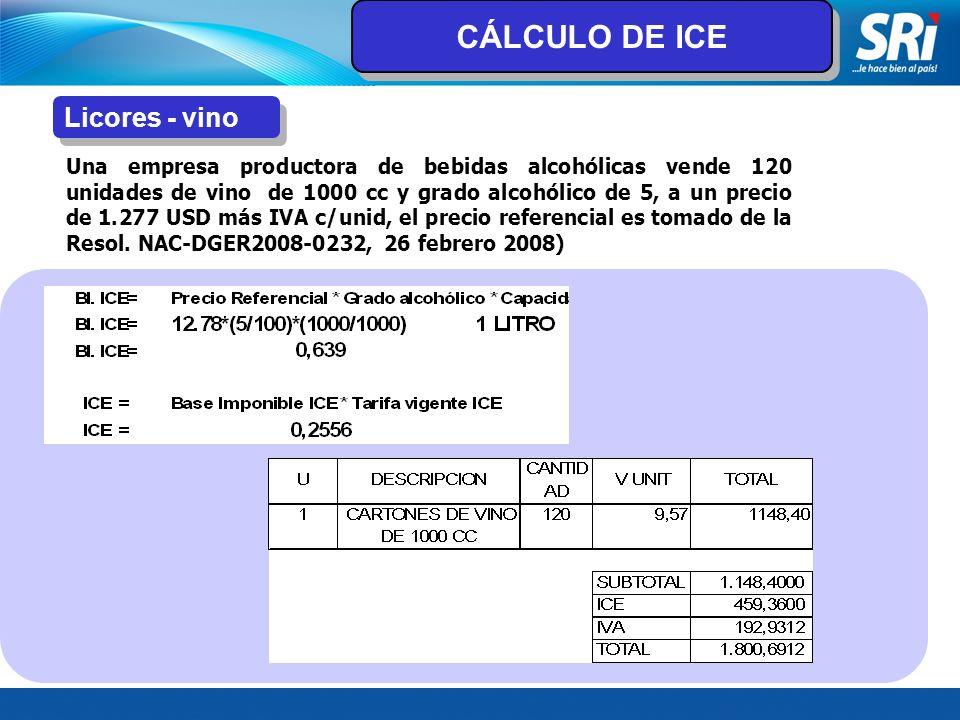 Licores - vino Una empresa productora de bebidas alcohólicas vende 120 unidades de vino de 1000 cc y grado alcohólico de 5, a un precio de 1.277 USD m