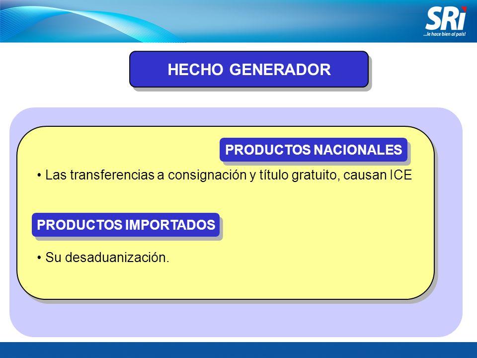 HECHO GENERADOR Las transferencias a consignación y título gratuito, causan ICE PRODUCTOS NACIONALES PRODUCTOS IMPORTADOS Su desaduanización.