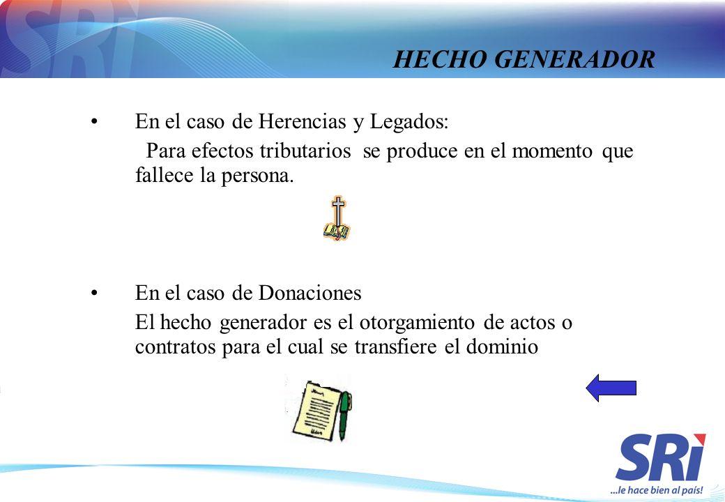 En el caso de Herencias y Legados: Para efectos tributarios se produce en el momento que fallece la persona. En el caso de Donaciones El hecho generad