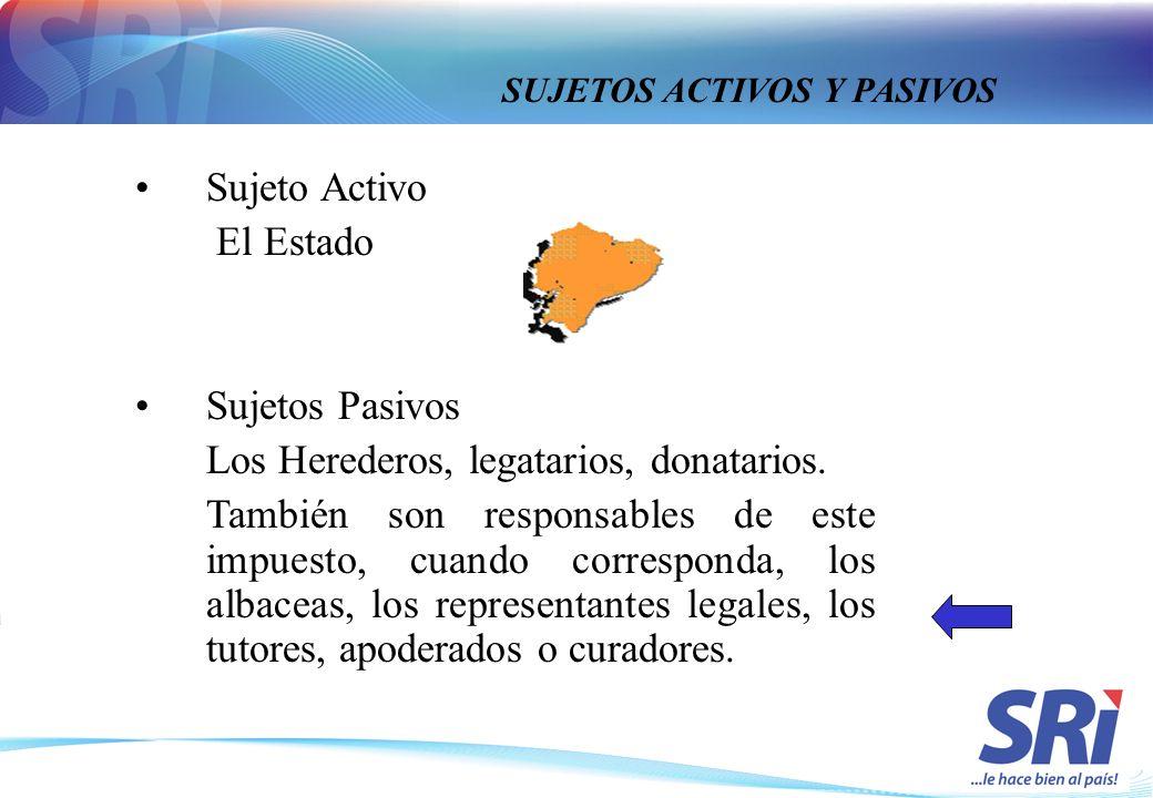 Sujeto Activo El Estado Sujetos Pasivos Los Herederos, legatarios, donatarios. También son responsables de este impuesto, cuando corresponda, los alba