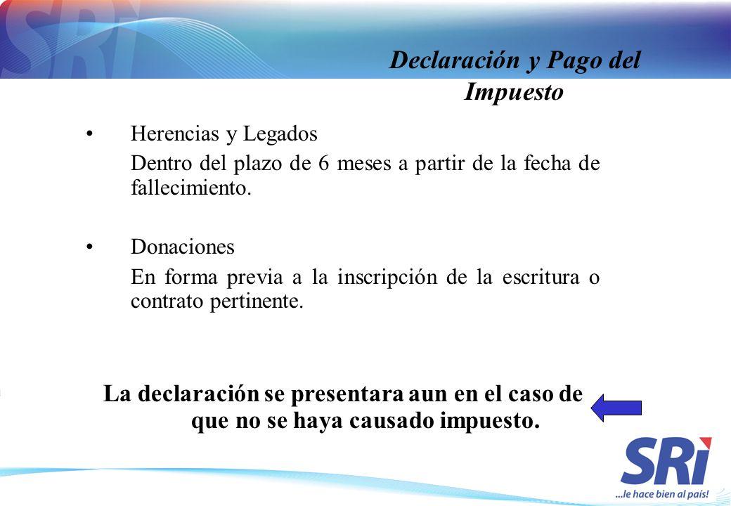 Declaración y Pago del Impuesto Herencias y Legados Dentro del plazo de 6 meses a partir de la fecha de fallecimiento. Donaciones En forma previa a la