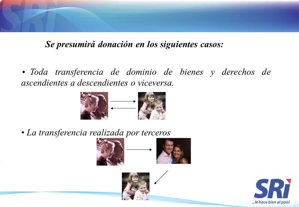 Toda transferencia de dominio de bienes y derechos de ascendientes a descendientes o viceversa. La transferencia realizada por terceros Se presumirá d