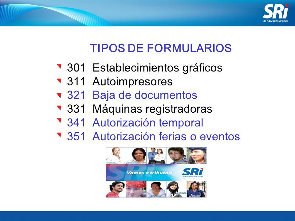 TIPOS DE FORMULARIOS 301 Establecimientos gráficos 311 Autoimpresores 321 Baja de documentos 331 Máquinas registradoras 341 Autorización temporal 351