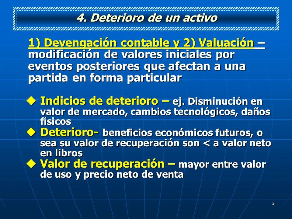 5 4. Deterioro de un activo 1) Devengación contable y 2) Valuación – modificación de valores iniciales por eventos posteriores que afectan a una parti