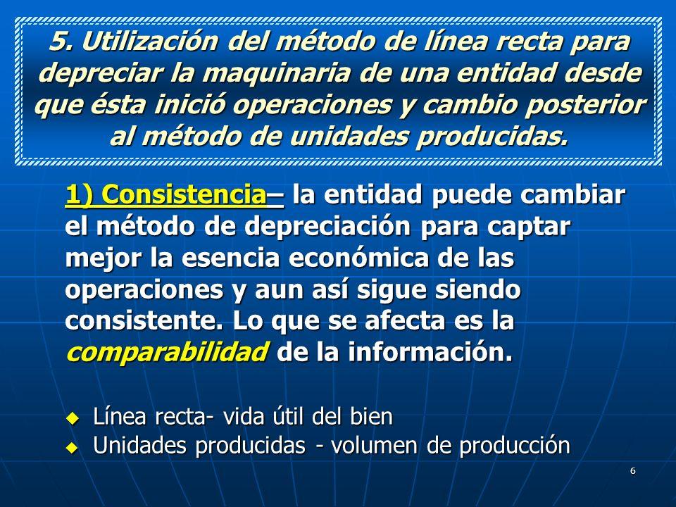 6 5. Utilización del método de línea recta para depreciar la maquinaria de una entidad desde que ésta inició operaciones y cambio posterior al método