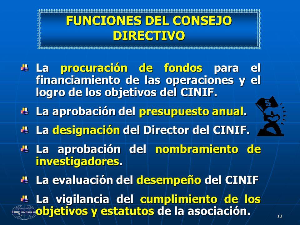 13 FUNCIONES DEL CONSEJO DIRECTIVO La procuración de fondos para el financiamiento de las operaciones y el logro de los objetivos del CINIF. La aproba