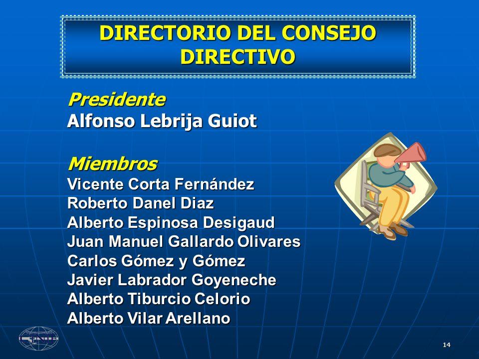 14 DIRECTORIO DEL CONSEJO DIRECTIVO Presidente Alfonso Lebrija Guiot Miembros Vicente Corta Fernández Roberto Danel Diaz Alberto Espinosa Desigaud Jua