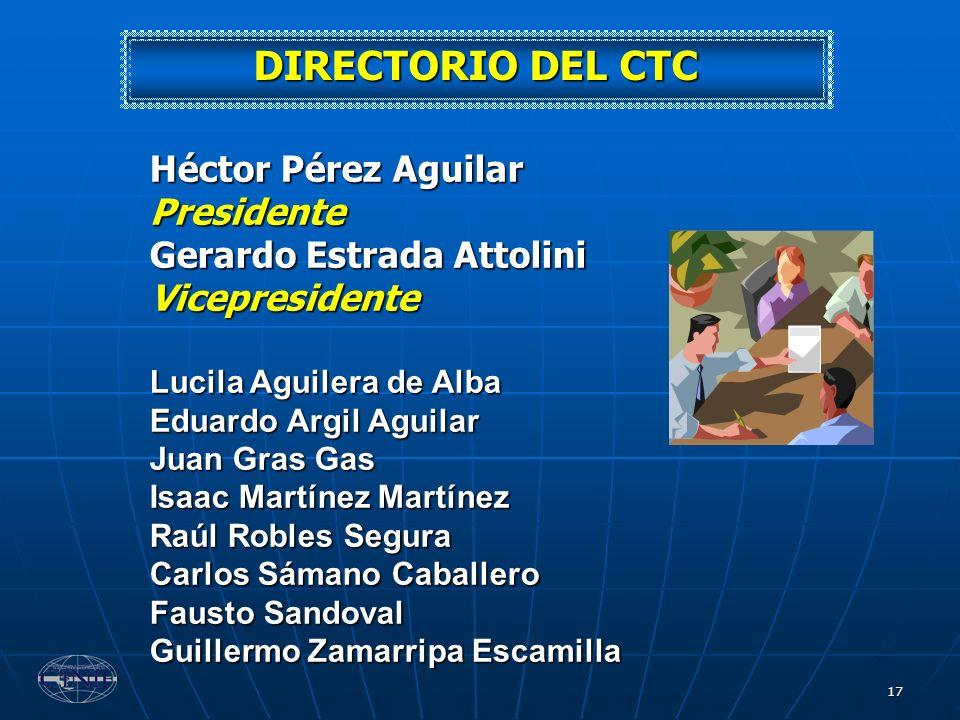 17 DIRECTORIO DEL CTC Héctor Pérez Aguilar Presidente Gerardo Estrada Attolini Vicepresidente Lucila Aguilera de Alba Eduardo Argil Aguilar Juan Gras