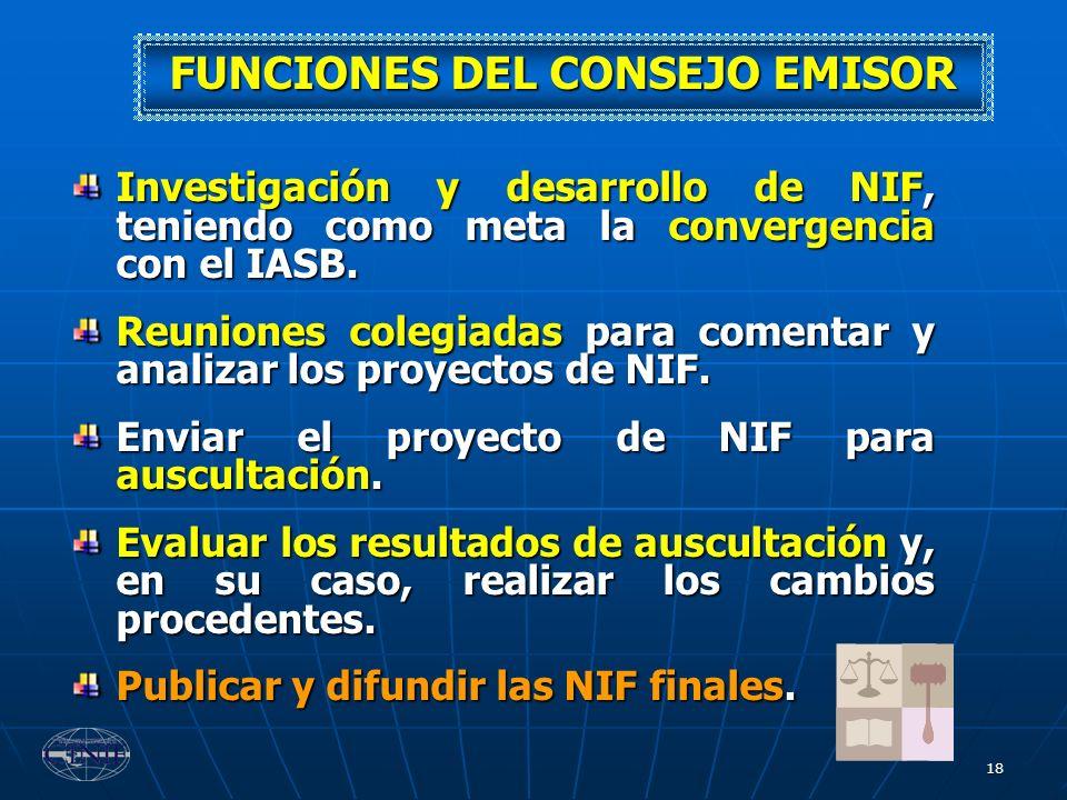 18 FUNCIONES DEL CONSEJO EMISOR Investigación y desarrollo de NIF, teniendo como meta la convergencia con el IASB. Reuniones colegiadas para comentar