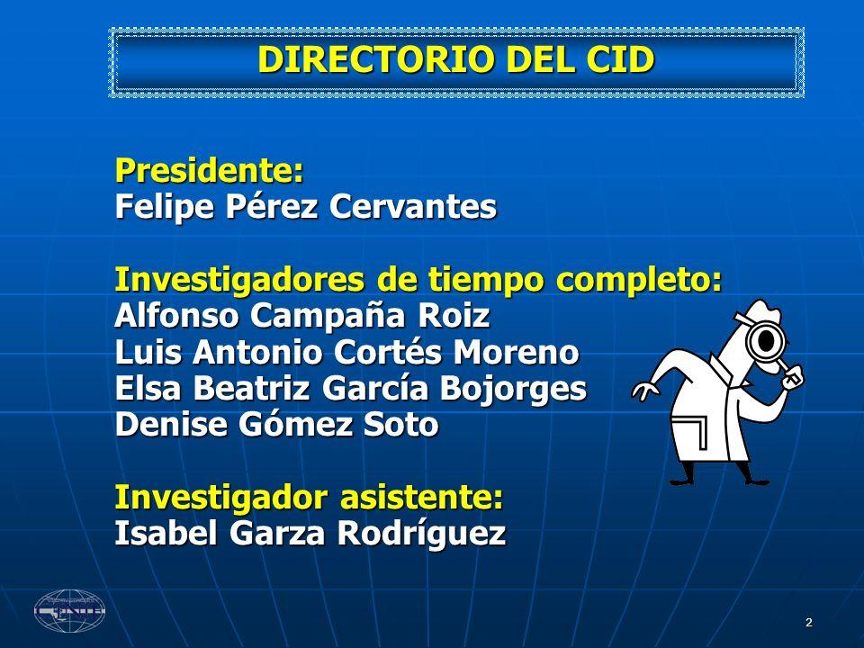 2 DIRECTORIO DEL CID Presidente: Felipe Pérez Cervantes Investigadores de tiempo completo: Alfonso Campaña Roiz Luis Antonio Cortés Moreno Elsa Beatri
