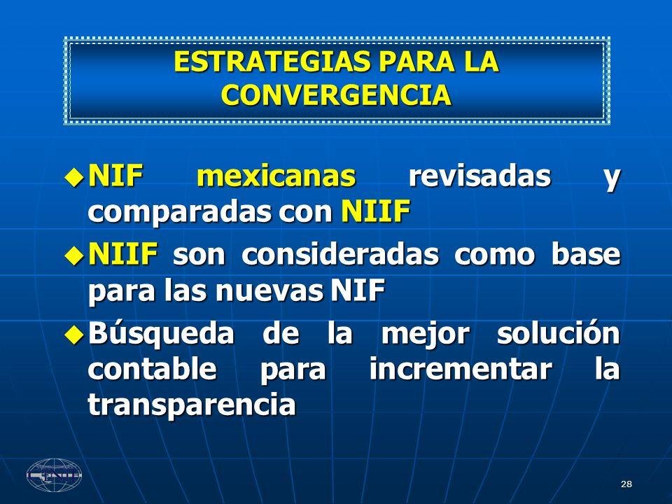 28 NIF mexicanas revisadas y comparadas con NIIF NIF mexicanas revisadas y comparadas con NIIF NIIF son consideradas como base para las nuevas NIF NII