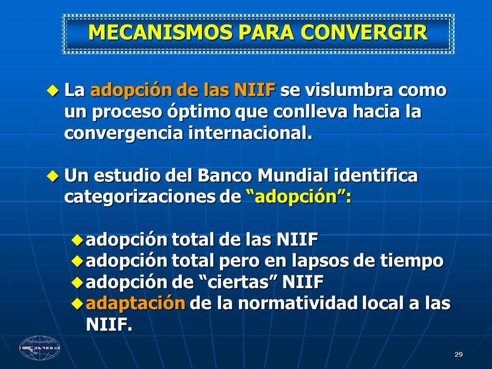 29 MECANISMOS PARA CONVERGIR La adopción de las NIIF se vislumbra como un proceso óptimo que conlleva hacia la convergencia internacional. La adopción