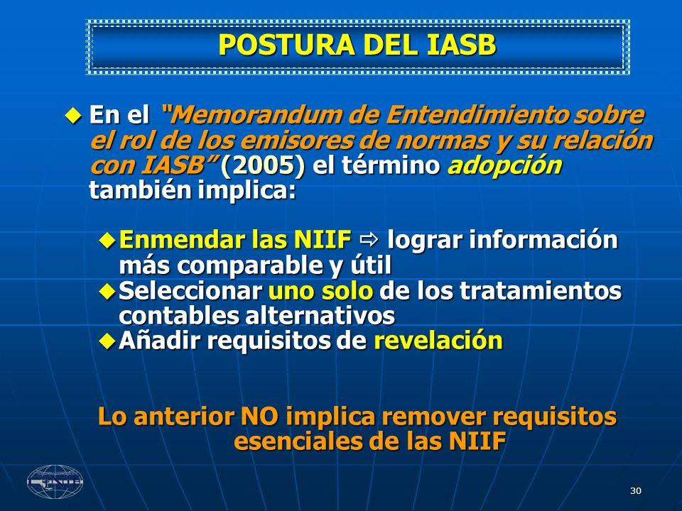 30 POSTURA DEL IASB En el Memorandum de Entendimiento sobre el rol de los emisores de normas y su relación con IASB (2005) el término adopción también